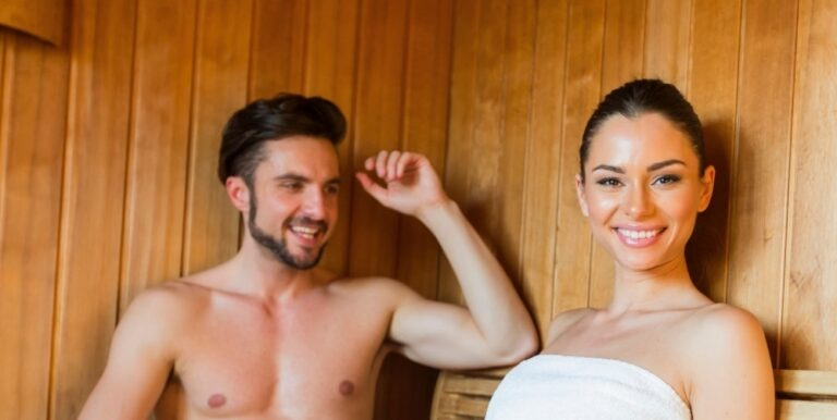 a man and a woman inside a sauna